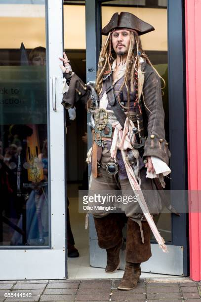 A cosplayer in character as Captain Jack Sparrow from Pirates of The Caribbean film series during the MCM Birmingham Comic Con at NEC Arena on March...