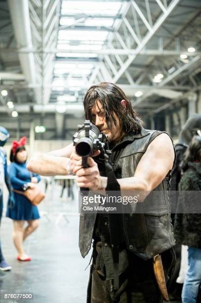 A cosplayer in character as during Daryl Dixon from The Walking Dead seen during the Birmingham MCM Comic Con held at NEC Arena on November 18 2017...
