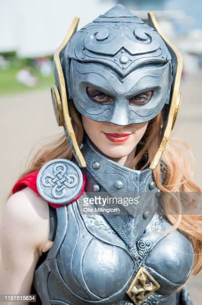 A cosplayer in character as Female Thor during Day 1 of London MCM Comic Con 2019 at ExCel on May 24 2019 in London England