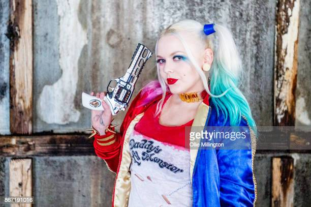 A cosplayer in character as Harley Quinn during MCM London Comic Con 2017 held at the ExCel on October 27 2017 in London England
