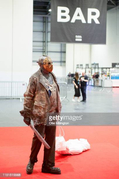 A cosplayer in character as Jason Voorhees from the Friday the 13th series during Day 1 of London MCM Comic Con 2019 at ExCel on May 24 2019 in...