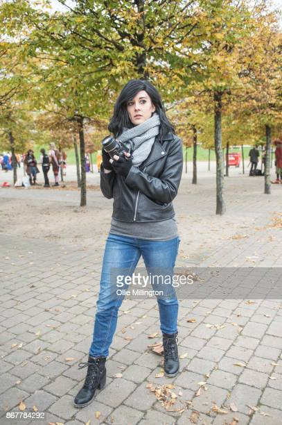 A Cosplayer in character as Jessica Jones from Marvels Defenders during day 3 of the MCM London Comic Con 2017 held at the ExCel on October 28 2017...