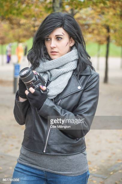 Cosplayer in character as Jessica Jones from Marvels Defenders during day 3 of the MCM London Comic Con 2017 held at the ExCel on October 28, 2017 in...