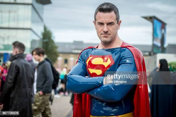 A cosplayer in character as Latex Superman during MCM London Comic Con 2017 held at the ExCel on October 28 2017 in London England