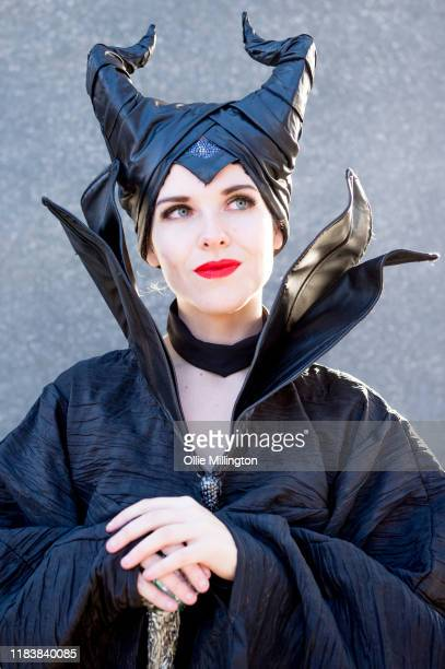Cosplayer in character as Maleficent: Mistress of Evil during day 3 of the October MCM London Comic Con 2019 at ExCel on October 27, 2019 in London,...