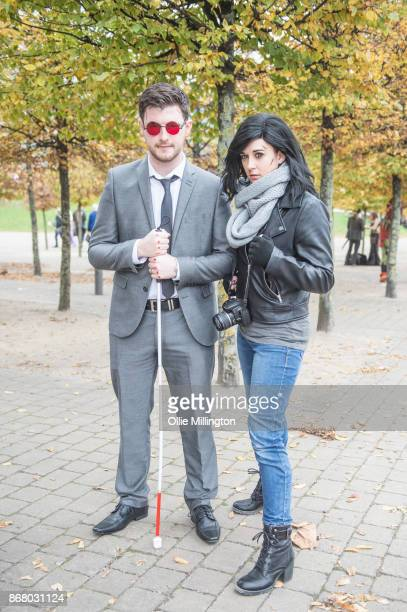 A Cosplayer in character as Matthew Matt Murdock and another as Jessica Jonesfrom Marvels Defenders during day 3 of the MCM London Comic Con 2017...