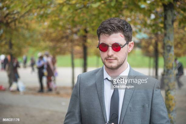 """Cosplayer in character as Matthew """"Matt"""" Murdock from Marvels Defenders during day 3 of the MCM London Comic Con 2017 held at the ExCel on October..."""