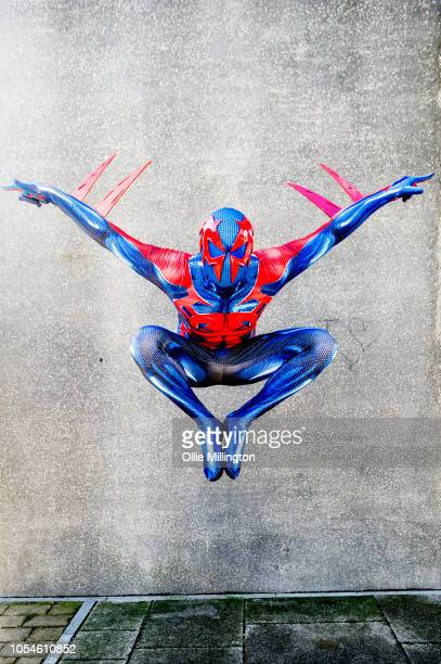 A cosplayer in character as SpiderMan 2099 seen during Day 3 of MCM London Comic Con 2018 at ExCel on October 28 2018 in London England