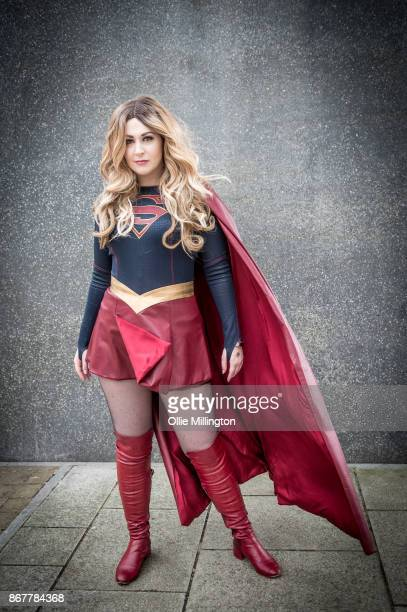A Cosplayer in character as Supergirl during day 3 of the MCM London Comic Con 2017 held at the ExCel on October 28 2017 in London England