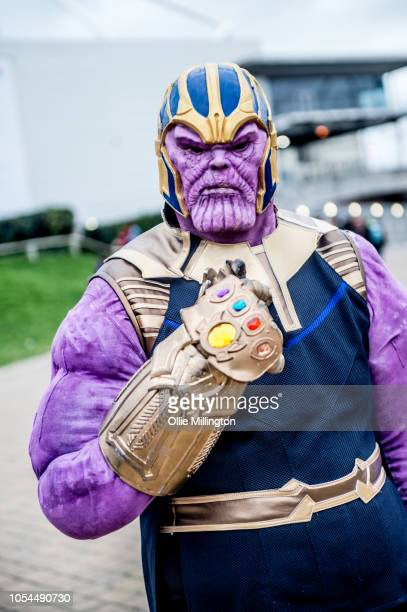 A cosplayer in character as Thanos seen during Day 2 of MCM London Comic Con 2018 at ExCel on October 27 2018 in London England