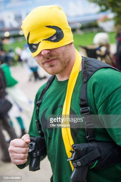 A cosplayer in character as The Iron Fist Danny Rand from The Defenders seen during Day 2 of MCM London Comic Con 2018 at ExCel on October 27 2018 in...