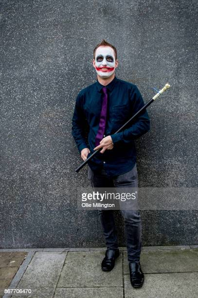 A cosplayer in character as The Joker during MCM London Comic Con 2017 held at the ExCel on October 28 2017 in London England