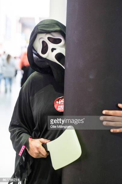 A Cosplayer in character as the killer from Scream during day 3 of the MCM London Comic Con 2017 held at the ExCel on October 28 2017 in London...