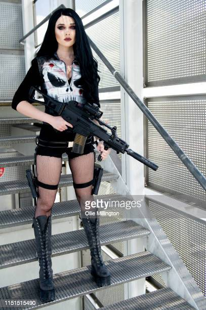 Cosplayer in character as The Punisher during Day 1 of London MCM Comic Con 2019 at ExCel on May 24, 2019 in London, England.