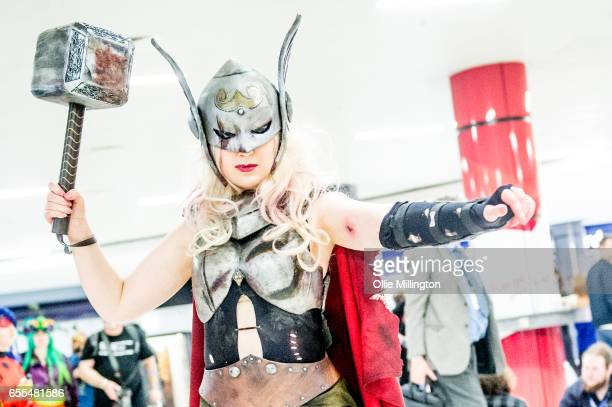 A cosplayer in character as Thor during the MCM Birmingham Comic Con at NEC Arena on March 19 2017 in Birmingham England