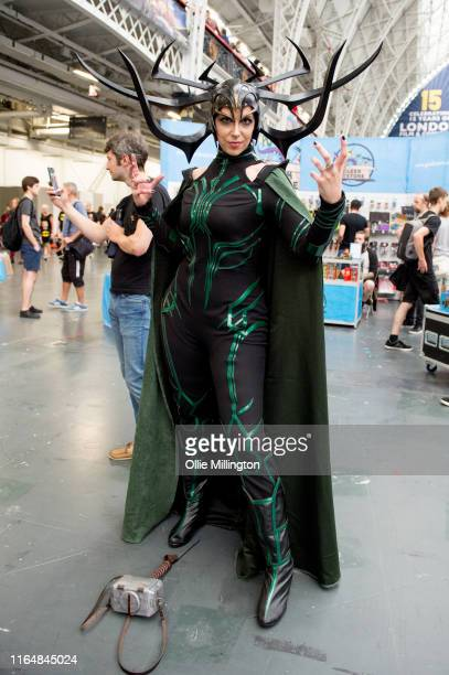 A cosplayer in character as Thors sister Hela the Goddess of Death seen during London Film and Comic Con 2019 at Olympia London on July 27 2019 in...