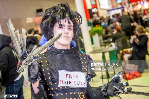 A cosplayer in character as Tim Burtons Edward Scissorhands seen during Day 2 of MCM London Comic Con 2018 at ExCel on October 27 2018 in London...