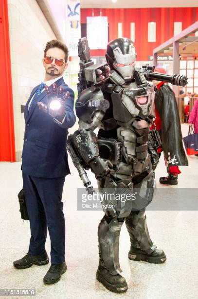Cosplayer in character as Tony Stark the Iron Man and War Machine during Day 1 of London MCM Comic Con 2019 at ExCel on May 24 2019 in London England