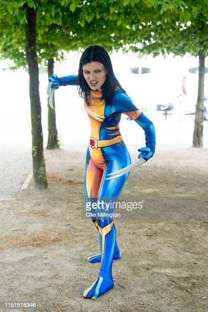 A cosplayer in character as Wolverine during Day 1 of London MCM Comic Con 2019 at ExCel on May 24 2019 in London England