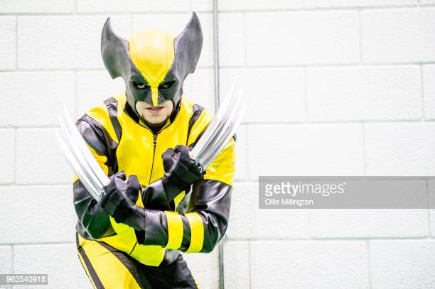 Cosplayer in character as Wolverine from X-Men on Day 1 of the MCM London Comic Con at The ExCel on May 25, 2018 in London, England.