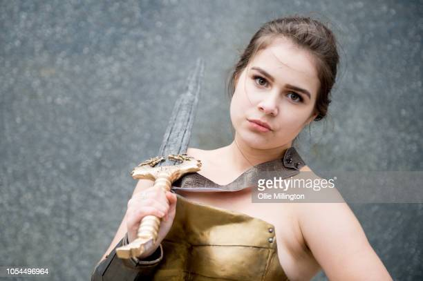 A cosplayer in character as Wonder Woman seen during Day 2 of MCM London Comic Con 2018 at ExCel on October 27 2018 in London England