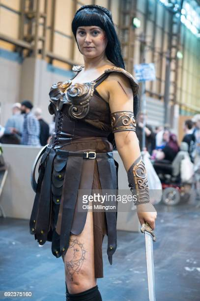 A cosplayer in character as Xena Warrior Princess at The Birmingham Film and Comic Con Collectormaina 24 at NEC Arena on June 4 2017 in Birmingham...