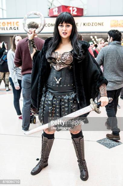 A cosplayer in character as Xena Warrior Princess seen during the Birmingham MCM Comic Con held at NEC Arena on November 18 2017 in Birmingham England