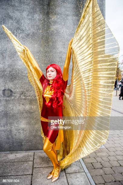A cosplayer in charcter as Jean GreySummers Dark Pheonix from XMen during MCM London Comic Con 2017 held at the ExCel on October 28 2017 in London...