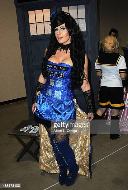 Cosplayer Ireland Reid as The Tardis from Doctor Who at the Long Beach ComicCon 2015 held at Long Beach Convention Center on September 13 2015 in...