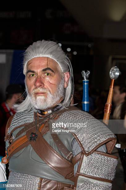 """Cosplayer James Galloway dressed as Geralt of Rivia from """"The Witcher"""" at 2019 Comic-Con International at 2019 Comic-Con International on July 18,..."""