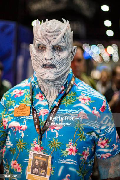 Cosplayer Jason Campbell as a vacationing Night King from Game of Thrones poses at 2019 ComicCon International on July 19 2019 in San Diego California