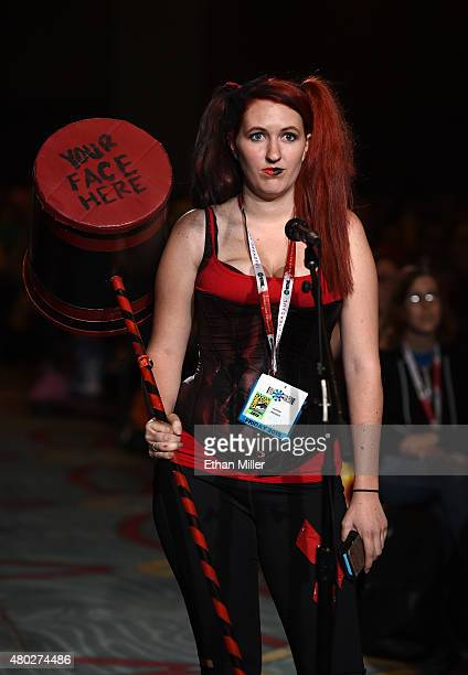 Cosplayer Jennifer Heinsius asks a question at a special video presentation and panel for 'The 100' during ComicCon International 2015 at the San...