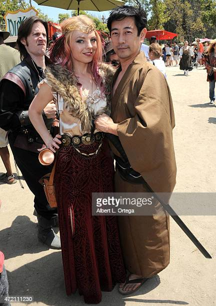 Cosplayer Jennifer Newman and actor/TV personality Grant Imahara at the 2015 Renaissance Pleasure Faire held at the Santa Fe Dam Recreation Area on...