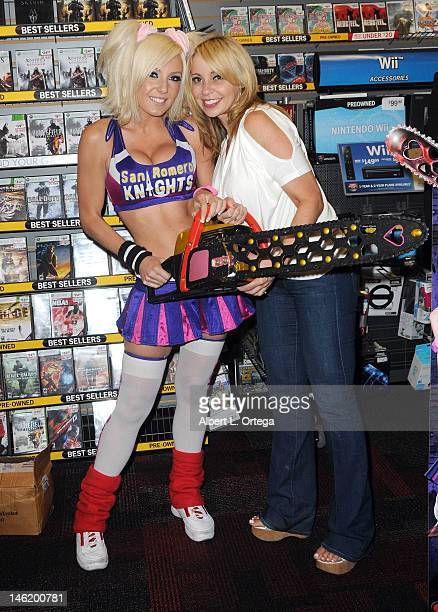 Cosplayer Jessica Nigri and actress Tara Strong participate in the Warner Bros Interactive Entertainment And Grasshopper Manufactures Lollipop...