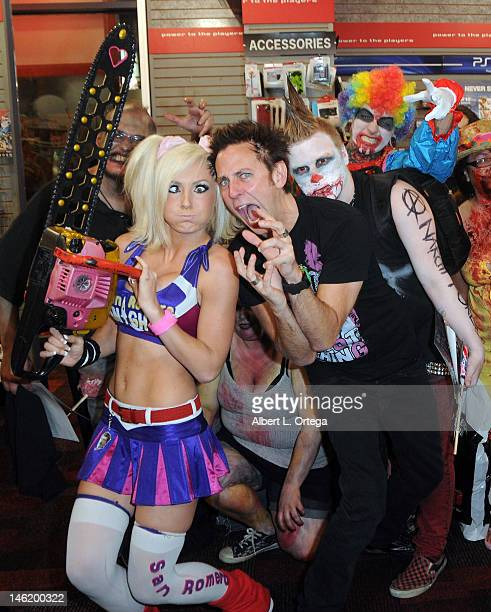 Cosplayer Jessica Nigri as Juliet Starling and writer/director James Gunn participate in the Warner Bros Interactive Entertainment And Grasshopper...