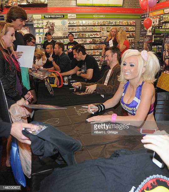 "Cosplayer Jessica Nigri as Juliet Starling participates in the Warner Bros. Interactive Entertainment And Grasshopper Manufactures ""Lollipop..."