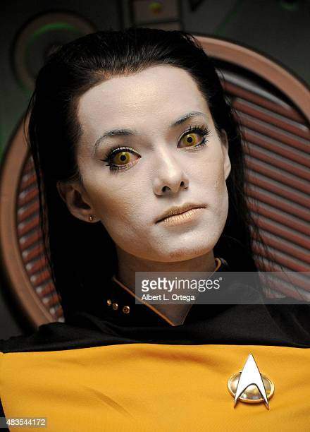 Cosplayer Joanie Brosas as Lt Commander Data from 'Star Trek The Next Generation' at the 14th annual official Star Trek convention at the Rio Hotel...
