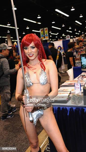 Cosplayer Joanie Brosas as Red Sonja attends day 3 of WonderCon 2018 held at Anaheim Convention Center on March 25 2018 in Anaheim California