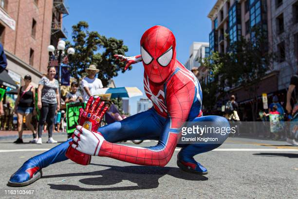 Cosplayer Joran Leon as Spiderman poses outside 2019 ComicCon International on July 19 2019 in San Diego California