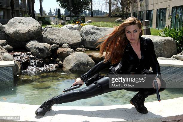 Cosplayer Kat Sky dressed as Black Widow at the 2016 Whedonopolis Convention held at Airtel Plaza Hotel on May 13 2016 in Van Nuys California
