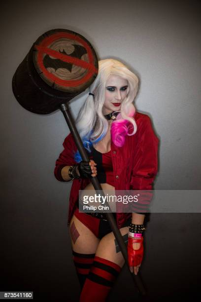 Cosplayer Katy DeCobray aka Harley Quinn attends Fan Expo Vancouver at Vancouver Convention Centre on November 12 2017 in Vancouver Canada