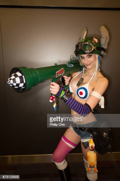 Cosplayer Katy DeCobray aka Tank Girl attends Fan Expo Vancouver at Vancouver Convention Centre on November 11 2017 in Vancouver Canada