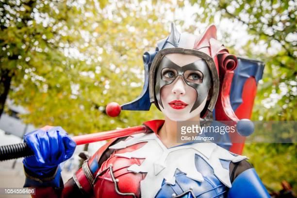 UK cosplayer Katya Fernandes AKA Wonder Kat in character as the Play Arts Kai DC Variant Harley Quinn Figure seen during Day 2 of MCM London Comic...