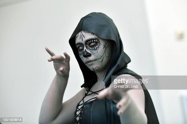 Cosplayer Lady Corvid poses at Comic Con in San Diego July 19 2018 The Comic Con fan convention brings 130000 visitors a year to San Diego where they...