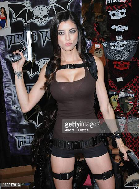 Cosplayer Leanna Vamp dressed as Lara Croft participates in Stan Lee's Comikaze Expo 2nd Annual Pop Culture Convention Day 1 held at The Los Angeles...