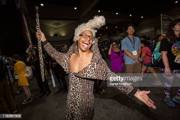 """Cosplayer Lequan Bennett dressed as Ruby Rhod from the movie """"The Fifth Element"""" at 2019 Comic-Con International at 2019 Comic-Con International on..."""