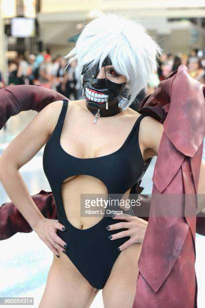Cosplayer Liz Katz as Tokyo Ghoul attends day 3 of Anime Expo 2018 at Los Angeles Convention Center on July 7 2018 in Los Angeles California