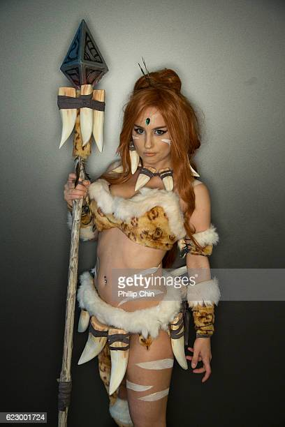 Cosplayer Maro aka Nidalee of League of Legends attends Fan Expo Vancouver 2016 at the Vancouver Convention Centre on November 12 2016 in Vancouver...