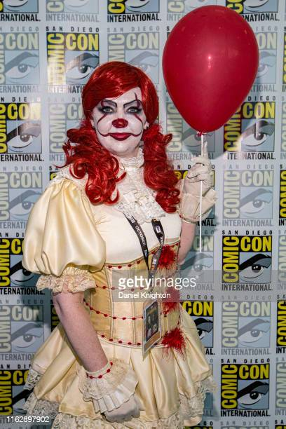 Cosplayer Mindy Conley dressed as Pennywise from the movie It at 2019 ComicCon International at 2019 ComicCon International on July 18 2019 in San...