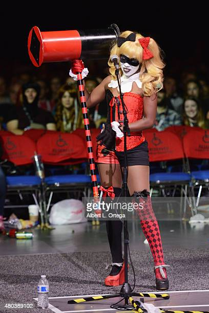 A cosplayer portraying Harley Quinn speaks onstage at the 'Yoga Hosers' panel during ComicCon International 2015 at the San Diego Convention Center...